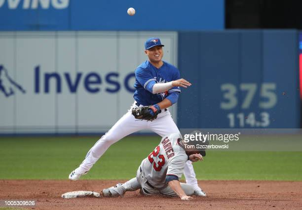 Aledmys Diaz of the Toronto Blue Jays gets the force out of Mitch Garver of the Minnesota Twins at second base but cannot turn the double play in the...