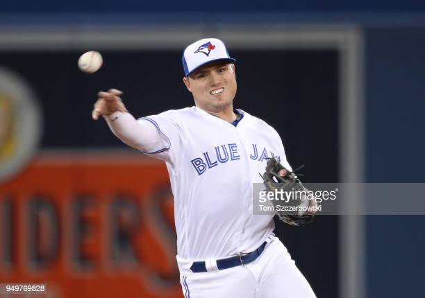 Aledmys Diaz of the Toronto Blue Jays makes the play and throws out the baserunner in the sixth inning during MLB game action against the Kansas City...