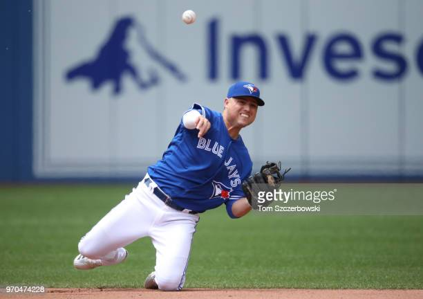 Aledmys Diaz of the Toronto Blue Jays throws from his knees but cannot throw out Chance Sisco of the Baltimore Orioles who hits a single in the fifth...