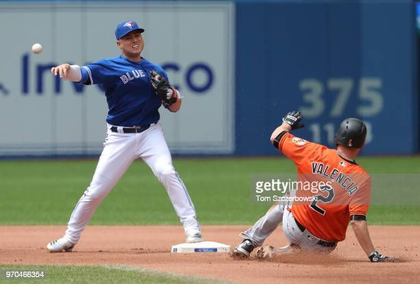 Aledmys Diaz of the Toronto Blue Jays turns a double play in the fourth inning during MLB game action as Danny Valencia of the Baltimore Orioles...