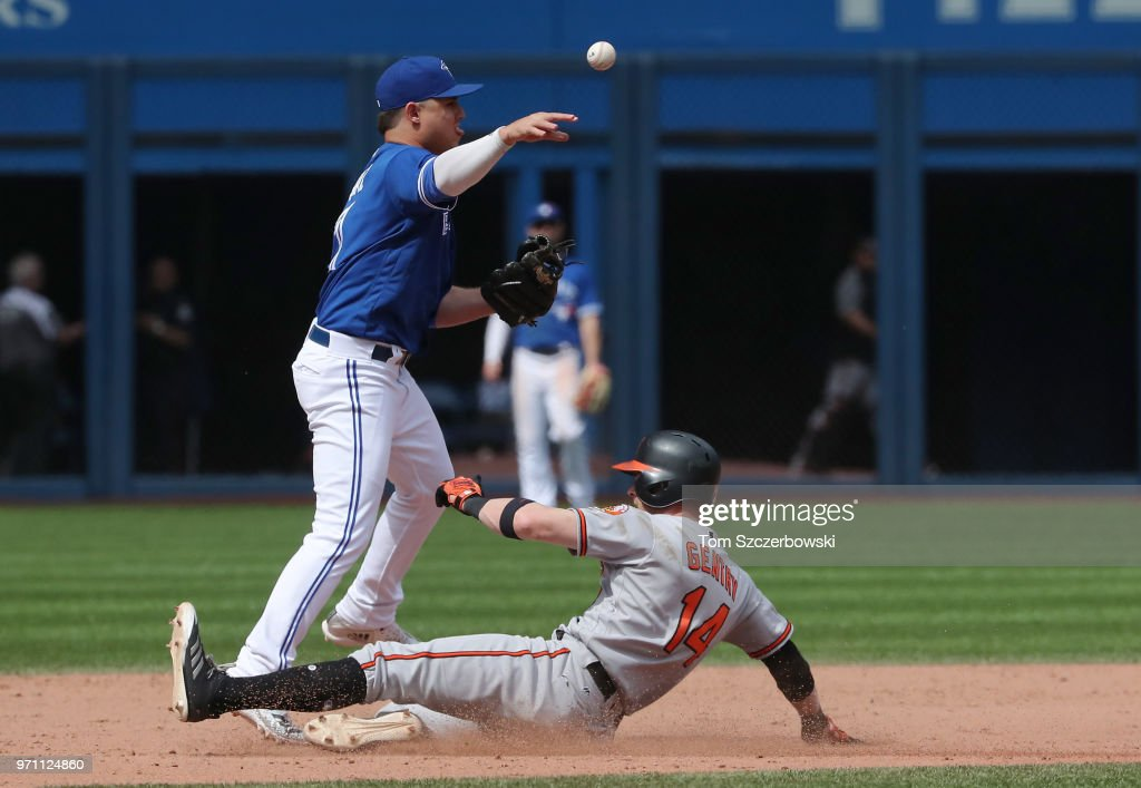 Aledmys Diaz #1 of the Toronto Blue Jays turns a double play in the eighth inning during MLB game action as Craig Gentry #14 of the Baltimore Orioles slides into second base at Rogers Centre on June 10, 2018 in Toronto, Canada.