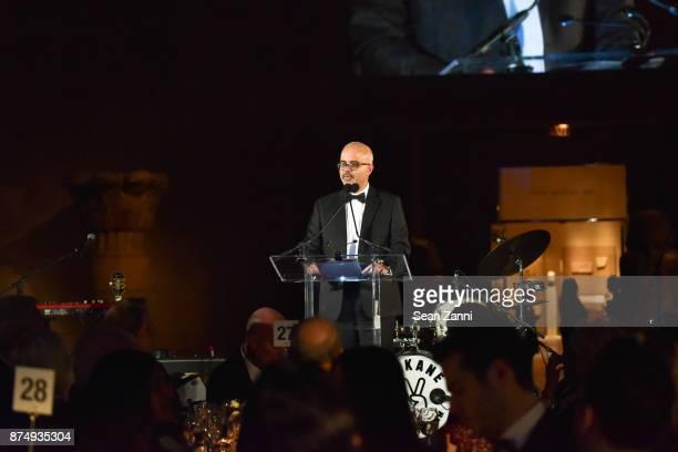 Aleem Wahlji speaks at The Aga Khan Foundation Gala at The Metropolitan Museum of Art on November 15 2017 in New York City