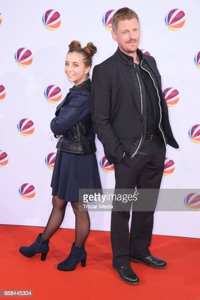 Aleen Koetter and Martin Gruber attend the photo call for the television film 'Nackt Das Netz vergisst nie' at Astor Film Lounge on March 27 2017 in...