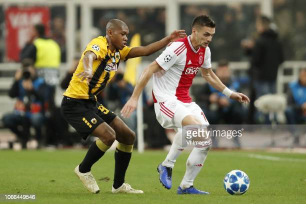 Alef of AEK Athens Dusan Tadic of Ajax during the UEFA Champions League group E match between AEK FC and Ajax Amsterdam at the OAKA Spyros Louis on...