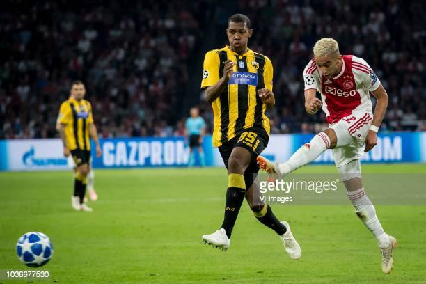 Alef of AEK Athens Hakim Ziyech of Ajax during the UEFA Champions League group E match between Ajax Amsterdam and AEK FC at the Johan Cruijff Arena...