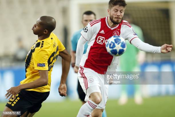 Alef of AEK Athens Lasse Schone of Ajax during the UEFA Champions League group E match between AEK FC and Ajax Amsterdam at the OAKA Spyros Louis on...