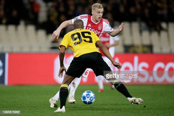 Alef of AEK Donny van de Beek of Ajax during the UEFA Champions League match between AEK Athene v Ajax at the Olympisch Stadion Spyridon Louis on...