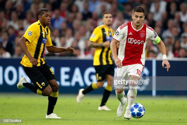 Alef of AEK Dusan Tadic of Ajax during the UEFA Champions League match between Ajax v AEK Athene at the Johan Cruijff Arena on September 19 2018 in...