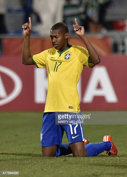 Alef of Brazil celebrates their win in the FIFA Under20 World Cup football semifinal between Brazil and Senegal in Christchurch on June 17 2015 AFP...