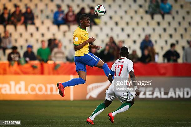 Alef of Brazil controls the ball during the FIFA U20 World Cup Semi Final match between Brazil and Senegal at Christchurch Stadium on June 17 2015 in...