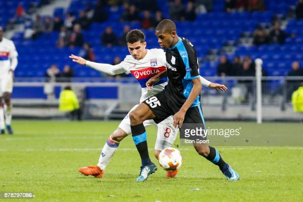 Alef of Limassol and Houssem Aouar of Lyon during europa league match between Olympique Lyonnais and Apollon Limassol at Parc Olympique on November...