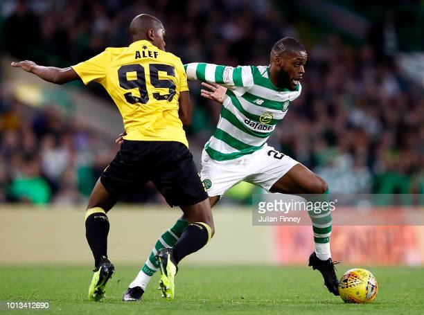 Alef Saladanha of AEK Athens and Olivier Ntcham of Celtic in action during the UEFA Champions League Qualifier between Celtic and AEK Athens at...