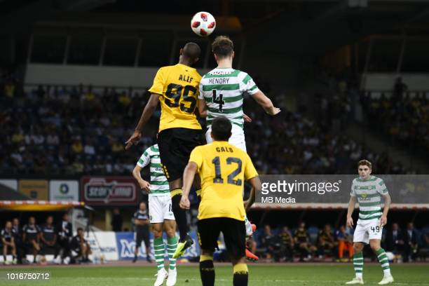 Alef Saldanha of AEK Athens and Jack Hendry of Celtic battle for the ball during the UEFA Champions League Qualifying Third Round 2nd Leg match...