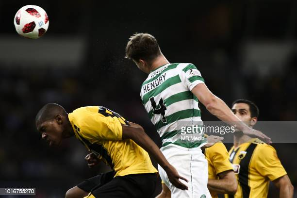 Alef Saldanha of AEK Athens and Jack Hendry of Celtic during the UEFA Champions League Qualifying Third Round 2nd Leg match between AEK Athens and...