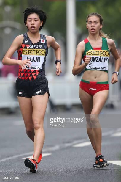Alegna Gonzalez of Mexico and Nanako Fujii of Japan in action during Women's 10 kilometres Race Walk of IAAF World Race Walking Team Championships...