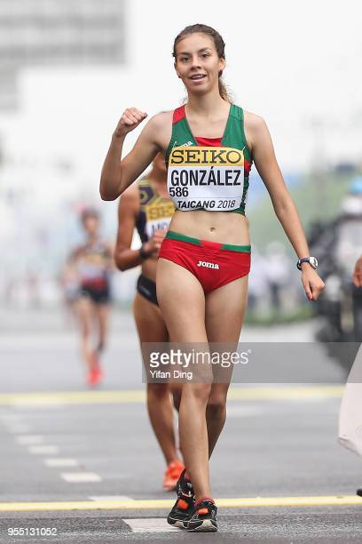 Alegna Gonzalez of Mexico celebrates after winning Women's 10 kilometres Race Walk of IAAF World Race Walking Team Championships Taicang 2018 on May...