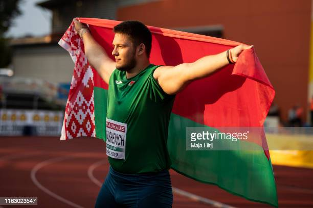 Aleh Tomashevich of Belarus celebrates after winning Shot Put Men Final on July 19, 2019 in Boras, Sweden.