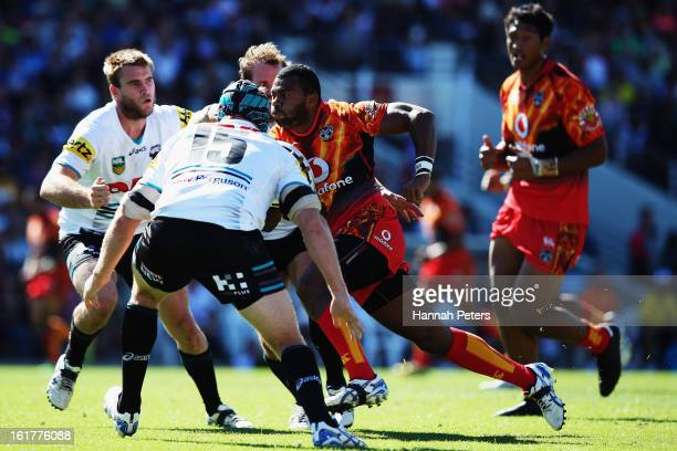 Alehana Mara of the Warriors makes a break during the NRL trial match between the New Zealand Warriors and the Penrith Panthers at Waikato Stadium on...