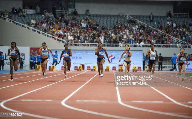 Aleia Hobbs and Jenna Prandini of the US Elaine Thompson of Jamaica Blessing Okagbare of Nigeria Wei Yongli of China MichelleLee Ahye of Trinidad and...