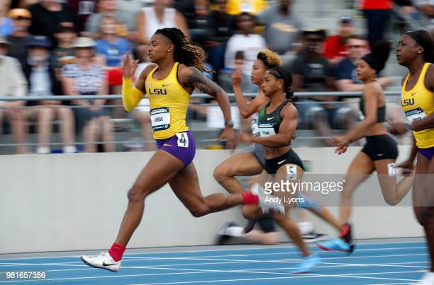 Aleia Hobbs runs to victory in the semifinals of the Womens 100 Meter during day 2 of the 2018 USATF Outdoor Championships at Drake Stadium on June...