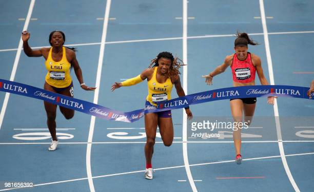 Aleia Hobbs runs to victory in the Womens100 Meter Final during day 2 of the 2018 USATF Outdoor Championships at Drake Stadium on June 22 2018 in Des...