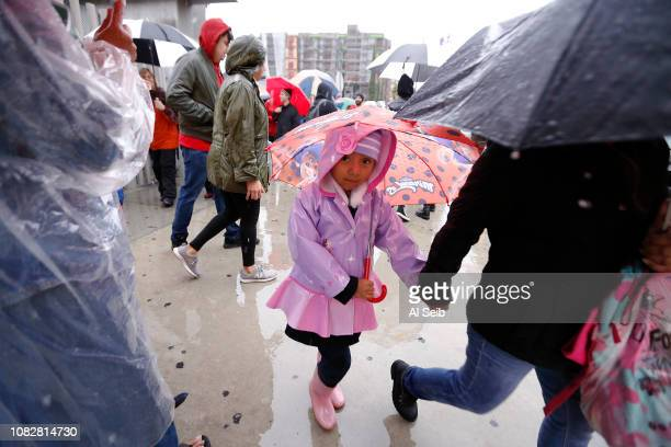 LOS ANGELES CA JANUARY 14 2019 Aleida Aguilar first grader at Robert F Kennedy Community Schools in Los Angeles is guided by her Mother Maria Acaval...