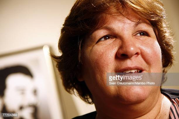 Aleida Guevara March daughter of Ernesto Che Guevara poses in front of an image of her father October 5 2007 in Havana Cuba Che Guevara was executed...