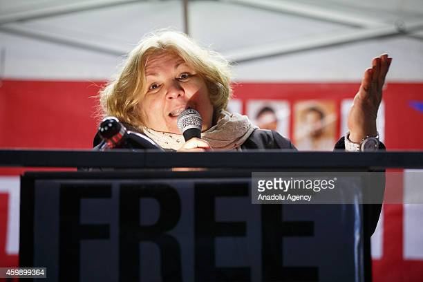 Aleida Guevara the eldest daughter of Che Guevara delivering a speech to members of the public taking part in a candle light vigil outside the US...