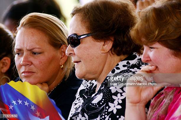 Aleida March widow of Che Guevara and her daughters Celia and Aleida look on during 'Alo Presidente' October 14 2007 in Santa Clara Cuba Chavez will...