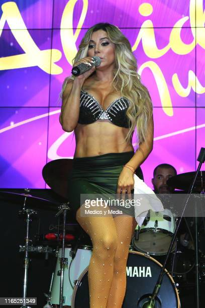 Aleida Nuñez performs during a press conference to release the new single 'Yo Quiero Besarte' at Casino Life Insurgentes on July 30 2019 in Mexico...