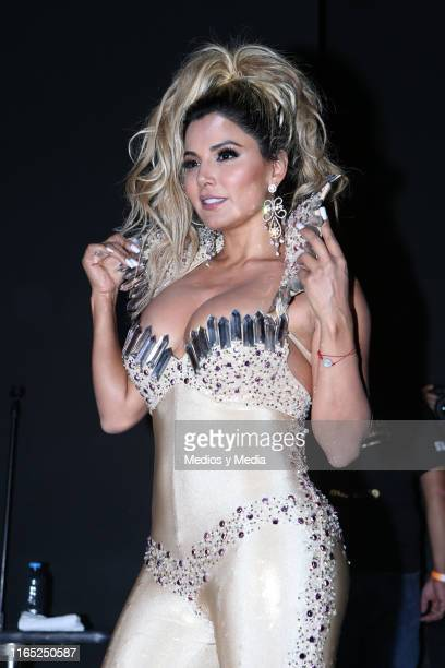 Aleida Nuñez poses for photos during a press conference to release the new single 'Yo Quiero Besarte' at Casino Life Insurgentes on July 30 2019 in...