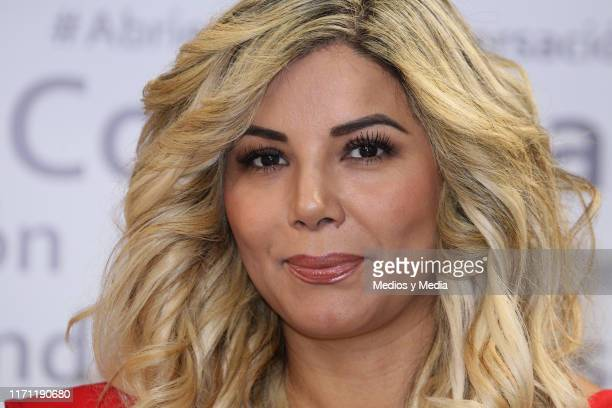 Aleida Nunez poses for photos during the anniversary of 'Salud y Belleza' Show on August 30 2019 in Mexico City Mexico