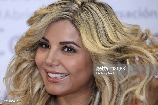 Aleida Nunez smiles during the anniversary of 'Salud y Belleza' Show on August 30 2019 in Mexico City Mexico
