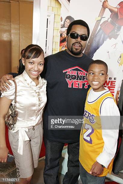 Aleisha Allen Ice Cube and Philip Daniel Bolden during The Premiere of Revolution Studios' and Columbia Pictures' Are We Done Yet Red Carpet at Mann...