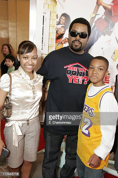 Aleisha Allen Ice Cube and Philip Daniel Bolden during The Premiere of Revolution Studios' and Columbia Pictures' 'Are We Done Yet' Red Carpet at...