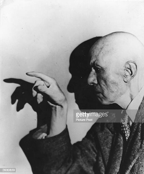 Aleister Crowley English author occultist magician and mountaineer Original Publication Picture Post 8183 Crowley The Beast pub 1955