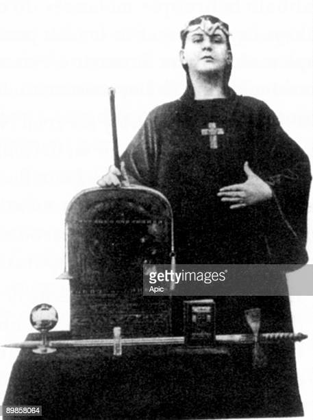 Aleister Crowley english mystic black magus in Victorian England founder of the cabbala here teenager testing magic