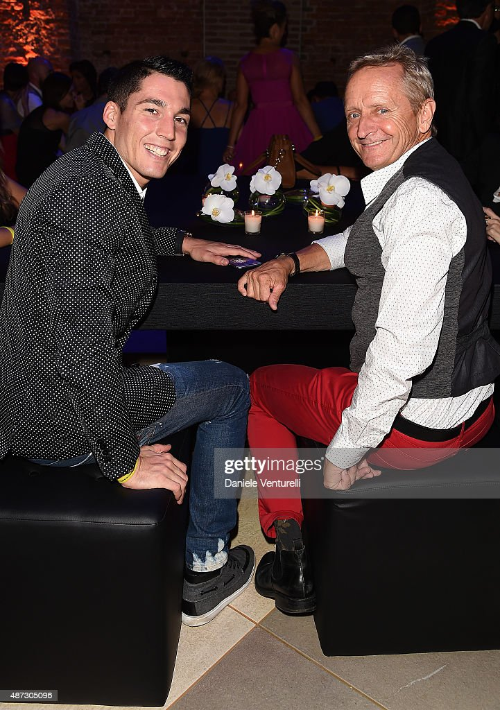 Aleix Espargaro and Kevin Schwantz attend a party for 'Rudy Project' 30th Anniversary Party during the 72nd Venice Film Festival at Granai dell'Hotel Cipriani on September 8, 2015 in Venice, Italy.