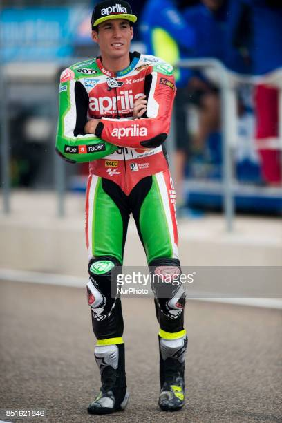 Aleix Espargaro Aprilia Racing Team Gresini Aprilia in the free practice of the Gran Premio Movistar de Aragon Circuit of Motorland Alcañiz Spain...