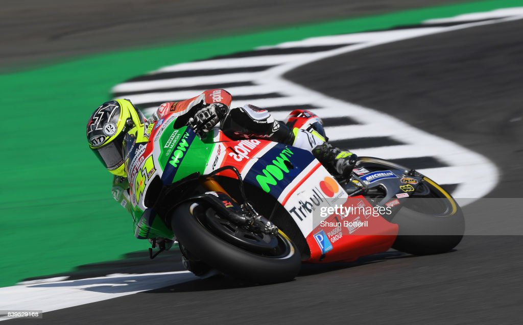Aleix Espargaro of Spain and Aprilia Racing Team Gresini during Free Practice 3 at Silverstone Circuit on August 26, 2017 in Northampton, England.