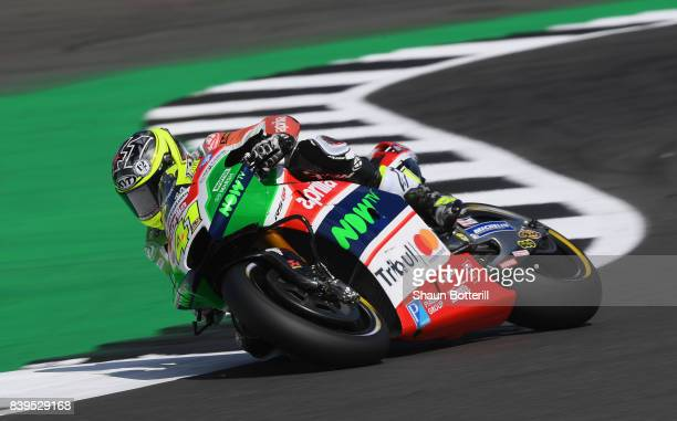 Aleix Espargaro of Spain and Aprilia Racing Team Gresini during Free Practice 3 at Silverstone Circuit on August 26 2017 in Northampton England