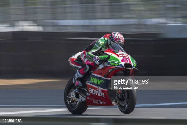 Aleix Espargaro of Spain and Aprilia Racing Team Gresini heads down a straight during the MotoGP Of Thailand Free Practice on October 5 2018 in Buri...