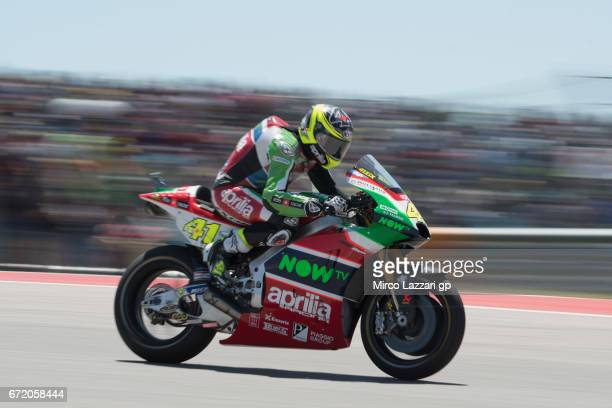 Aleix Espargaro of Spain and Aprilia Racing Team Gresini heads down a straight during the MotoGP race during the MotoGp Red Bull US Grand Prix of The...