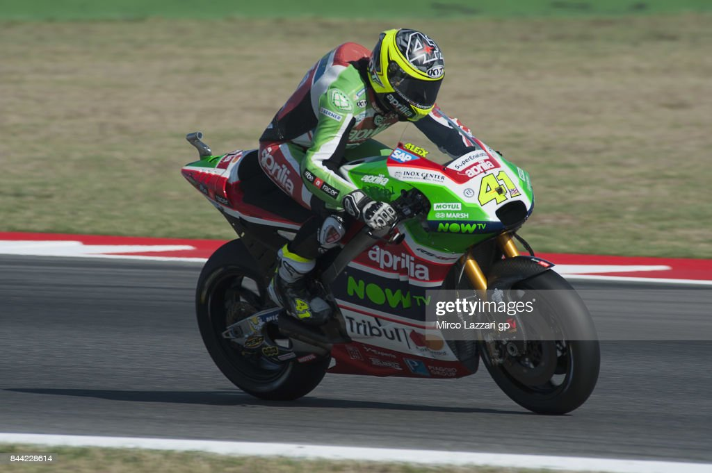 Aleix Espargaro of Spain and Aprilia Racing Team Gresini heads down a straight during the MotoGP of San Marino - Free Practice at Misano World Circuit on September 8, 2017 in Misano Adriatico, Italy.