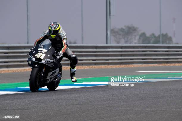 Aleix Espargaro of Spain and Aprilia Racing Team Gresini heads down a straight during the MotoGP Tests In Thailand on February 16 2018 in Buri Ram...