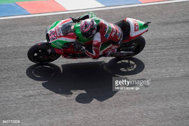 Aleix Espargaro of Spain and Aprilia Racing Team Gresini heads down a straight during the MotoGp of Argentina Free Practice on April 6 2018 in Rio...