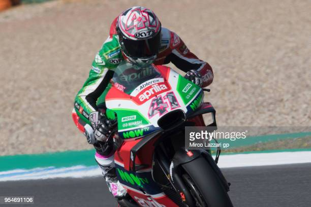 Aleix Espargaro of Spain and Aprilia Racing Team Gresini heads down a straight during the MotoGp of Spain Free Practice at Circuito de Jerez on May 4...