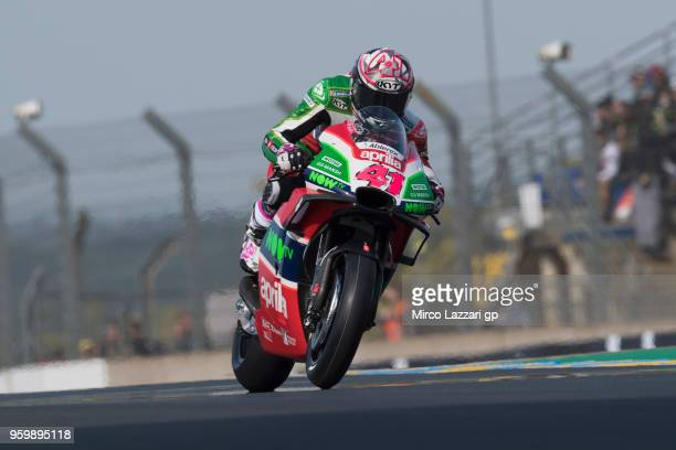 Aleix Espargaro of Spain and Aprilia Racing Team Gresini heads down a straight during the MotoGp of France Free Practice on May 18 2018 in Le Mans...