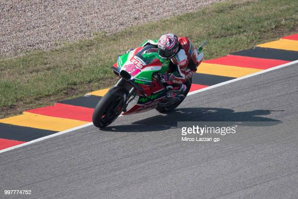 Aleix Espargaro of Spain and Aprilia Racing Team Gresini heads down a straight during the MotoGp of Germany Free Practice at Sachsenring Circuit on...