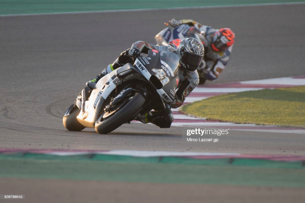 Aleix Espargaro of Spain and Aprilia Racing Team Gresini leads the field during the Moto GP Testing - Qatar at Losail Circuit on March 3, 2018 in Doha, Qatar.